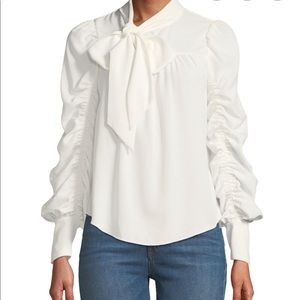 Joie Kineta ruched hammered crepe de chine blouse